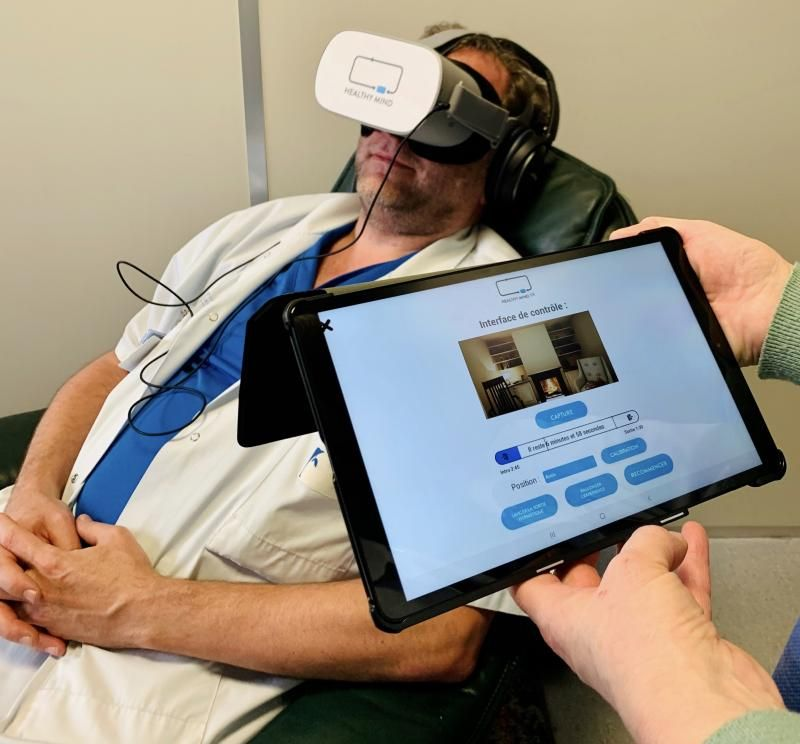 To relax health care staff with virtual reality